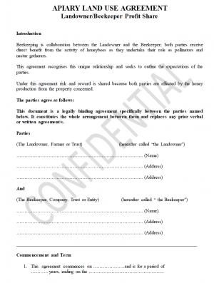 Apiary Land Use Agreement Landowner/Beekeeper Profit Share U2013 Non Members